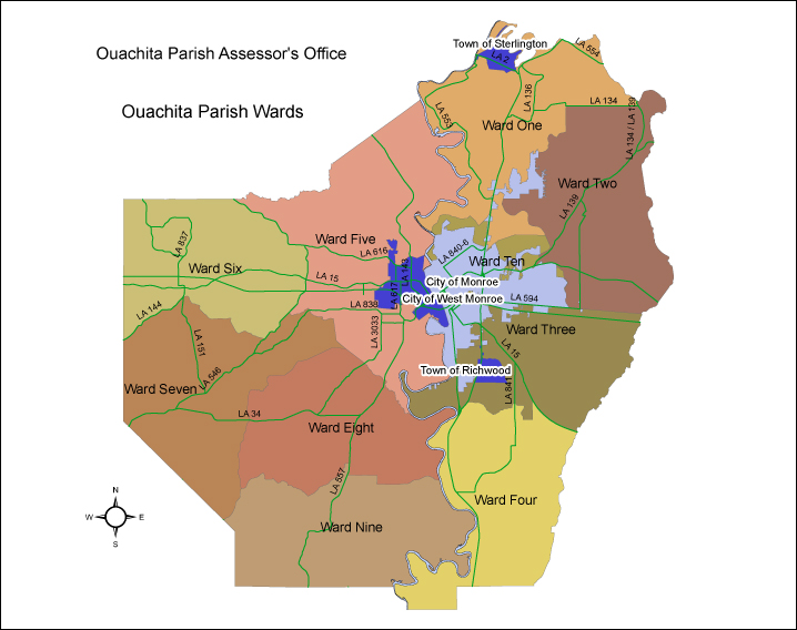 Ouachita Parish Ward Map